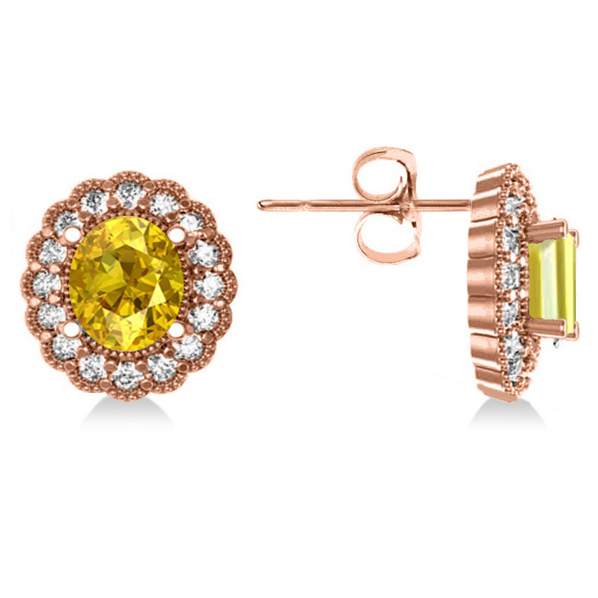 Yellow Sapphire & Diamond Floral Oval Earrings 14k Rose Gold (5.96ct)