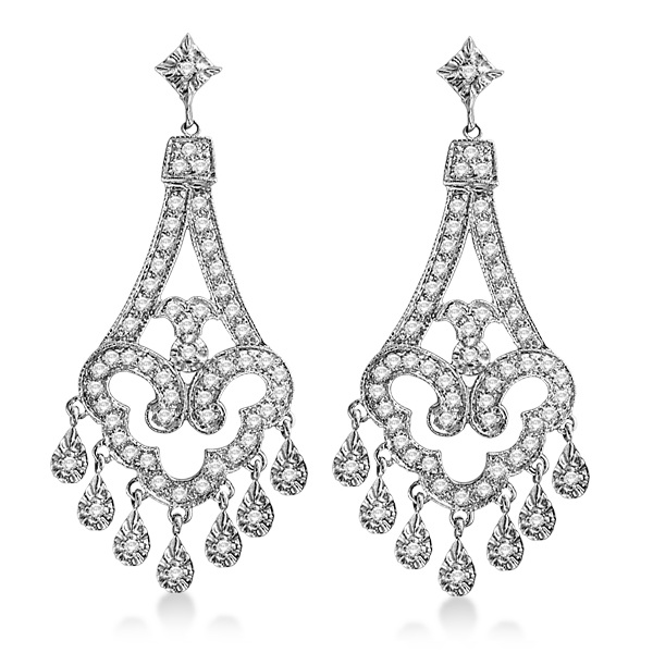 Allurez Dangling Chandelier Diamond Earrings 14K White Go...