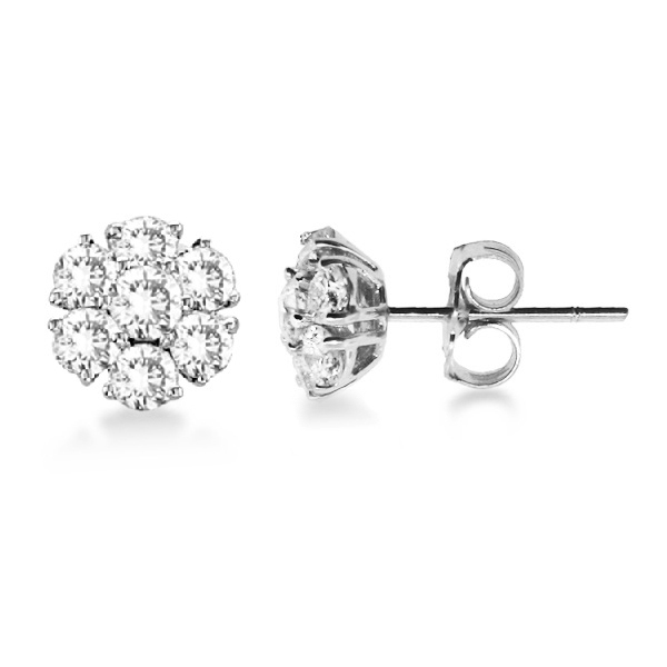 Diamond Flower Cer Earrings In 14k White Gold 1 20ctw