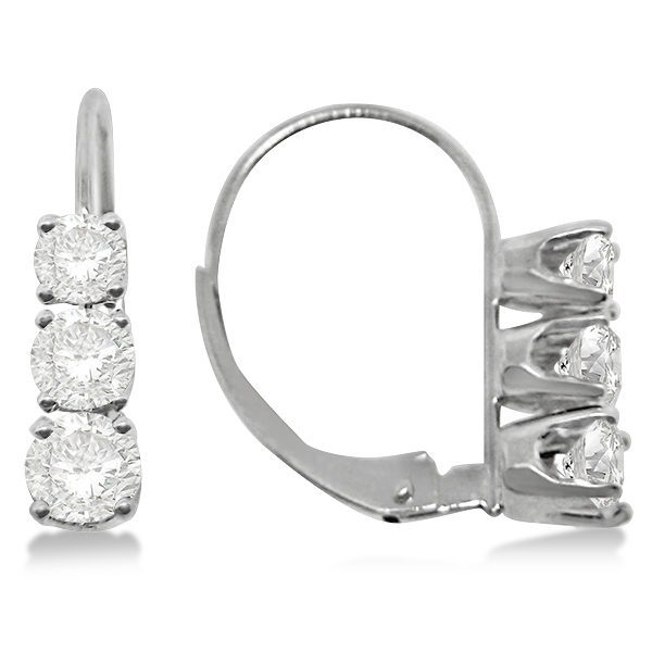 Three Stone Leverback Diamond Earrings 14k White Gold 1 00ct
