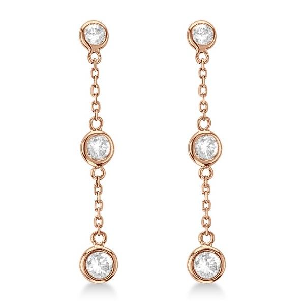 Diamonds by The Yard Bezel-Set Drop Earrings 14k Rose Gold (1.00ct)