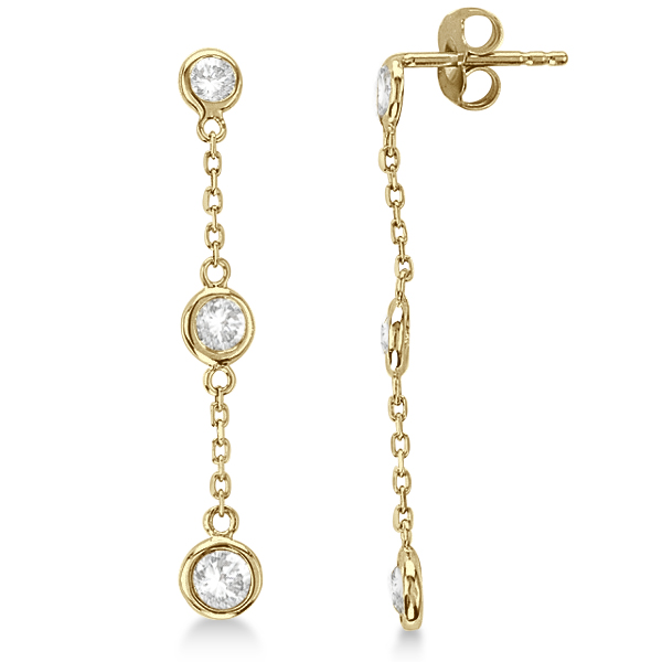 Diamond Drop Earrings Bezel Set Dangles 14k Yellow Gold 0 25ct