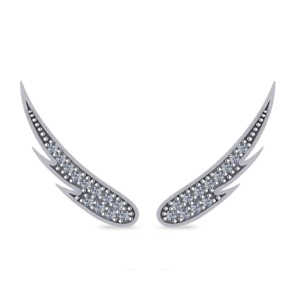 Angel Wings Ear Cuffs Diamond Accented 14K White Gold (0.24ct)