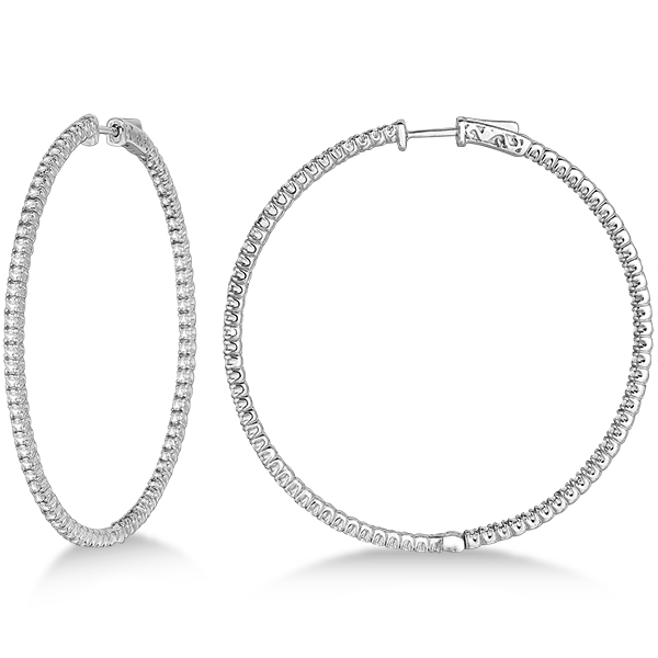 Unique X Large Diamond Hoop Earrings 14k White Gold 3 00ct