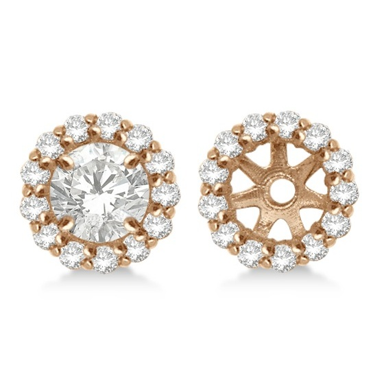Round Diamond Earring Jackets For 7mm Studs 14k Rose Gold 0 58ct