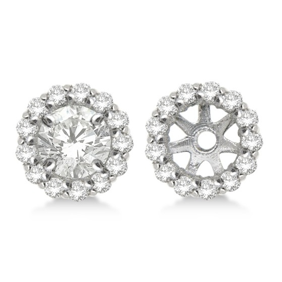 Round Diamond Earring Jackets For 7mm Studs 14k White Gold 0 58ct