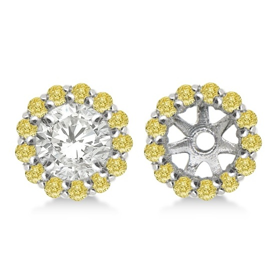 Round Yellow Diamond Earring Jackets For 5mm Studs 14k W Gold 0 50ct