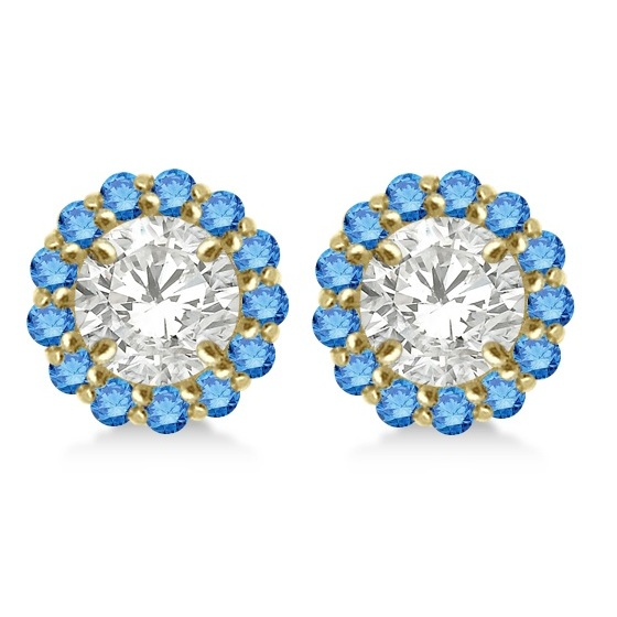 Round Blue Diamond Earring Jackets for 6mm Studs 14K Yellow Gold (0.55ct)