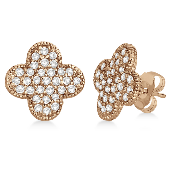 Allurez Four Leaf Clover Diamond Stud Earrings 14k Rose G...