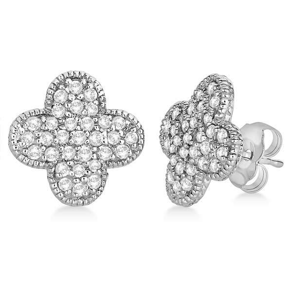 Allurez Four Leaf Clover Diamond Stud Earrings 14k White ...