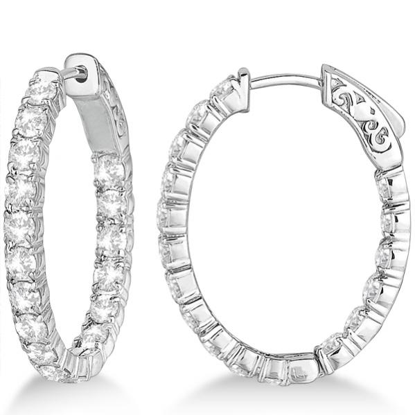 Oval Shaped Diamond Hoop Earrings 14k White Gold 3 57ct
