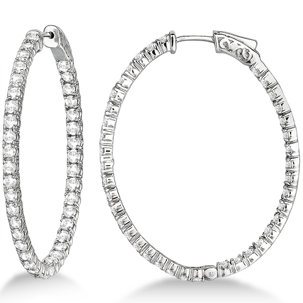 Fancy Large Oval Shaped Diamond Hoop Earrings 14k White Gold 5 46ct
