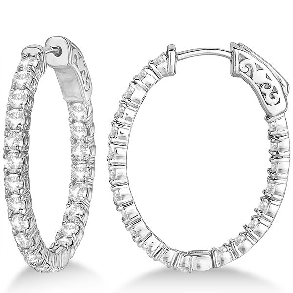 Small Oval Shaped Diamond Hoop Earrings 14k White Gold 2 94ct