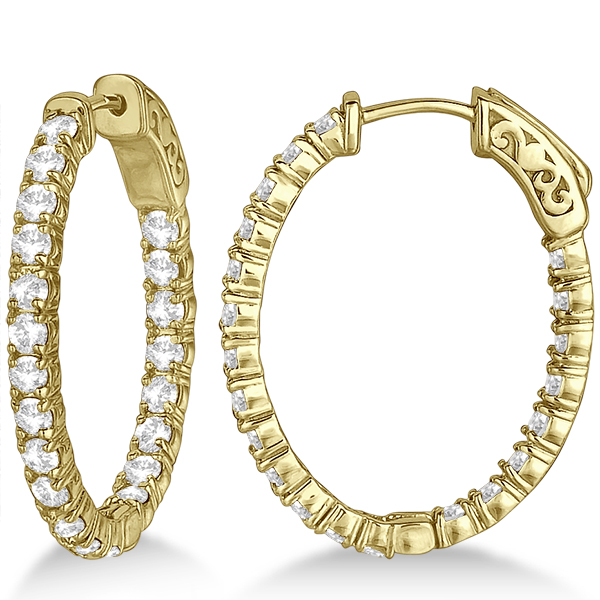 Small Oval Shaped Diamond Hoop Earrings 14k Yellow Gold 2 94ct