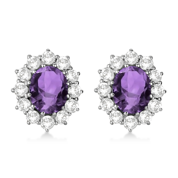 Oval Amethyst & Diamond Accented Earrings 14k White Gold (7.10ctw)