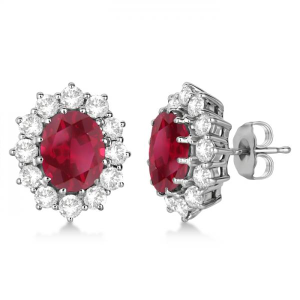 59f8ff0e6 Oval Ruby and Diamond Earrings 14k White Gold (7.10ctw) - IE364