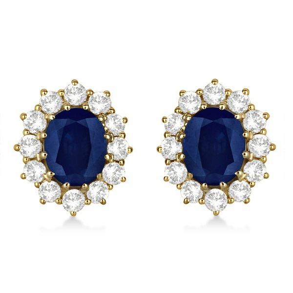Oval Blue Sapphire & Diamond Accented Earrings 14k Yellow Gold (7.10ctw)