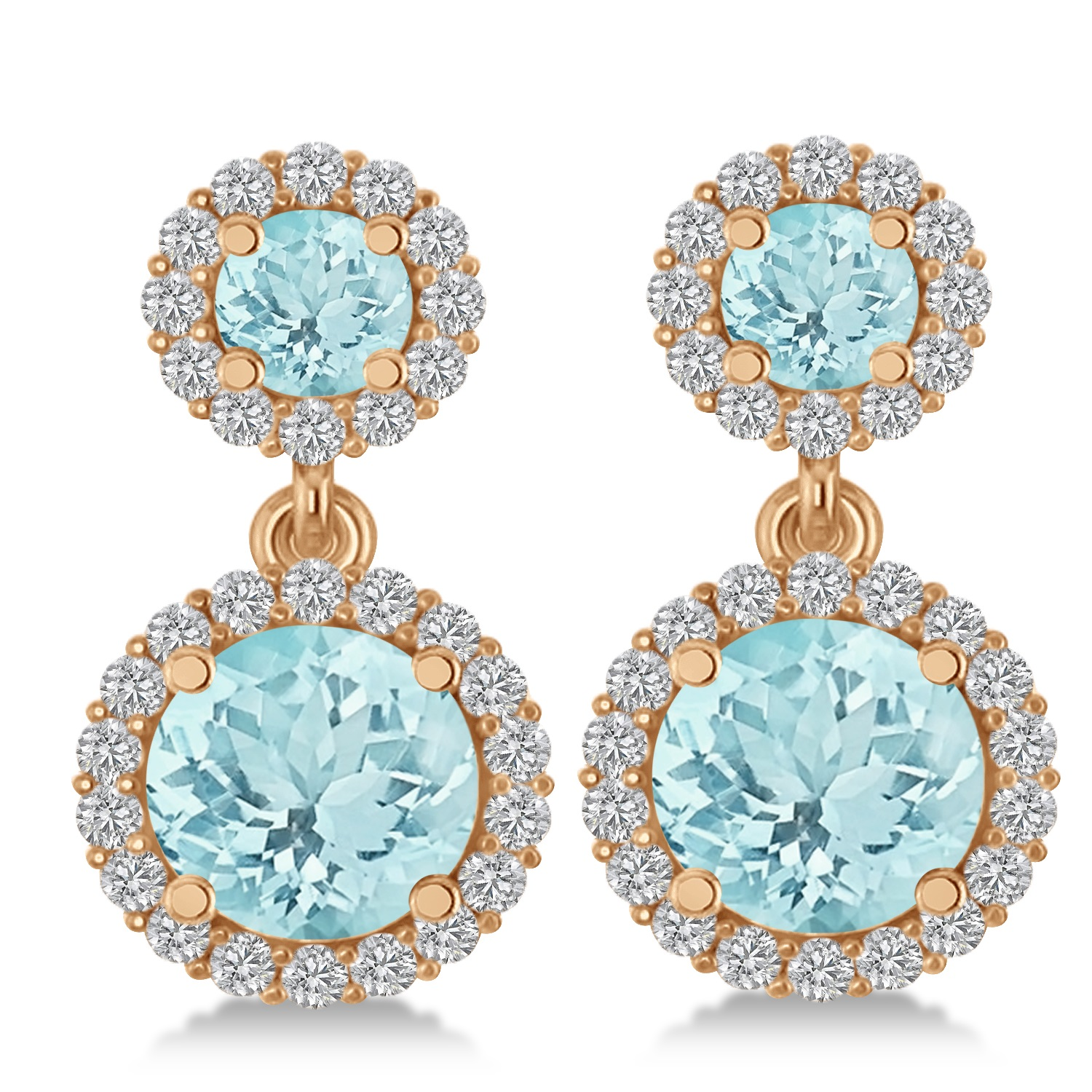 Two Stone Dangling Aquamarine & Diamond Earrings 14k Rose Gold (3.00ct)