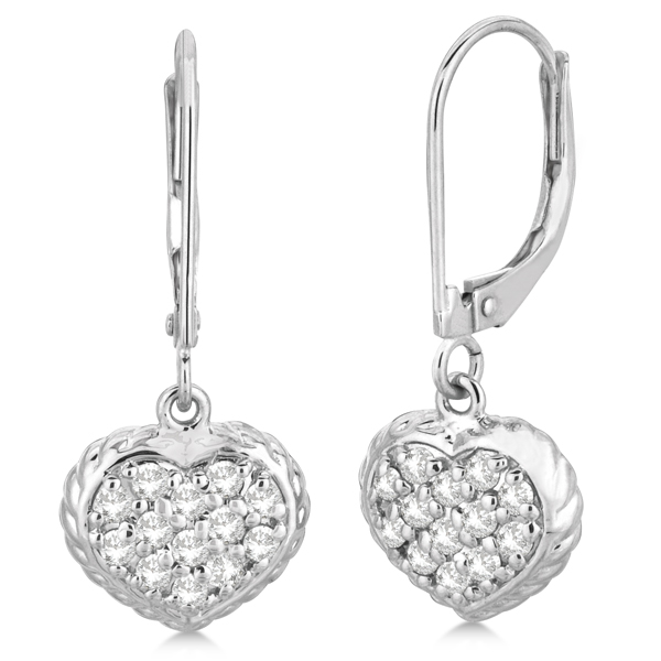 80a95ad81 Lever Back Pave Diamond Heart Earrings 14K White Gold (0.50ct) - IE415