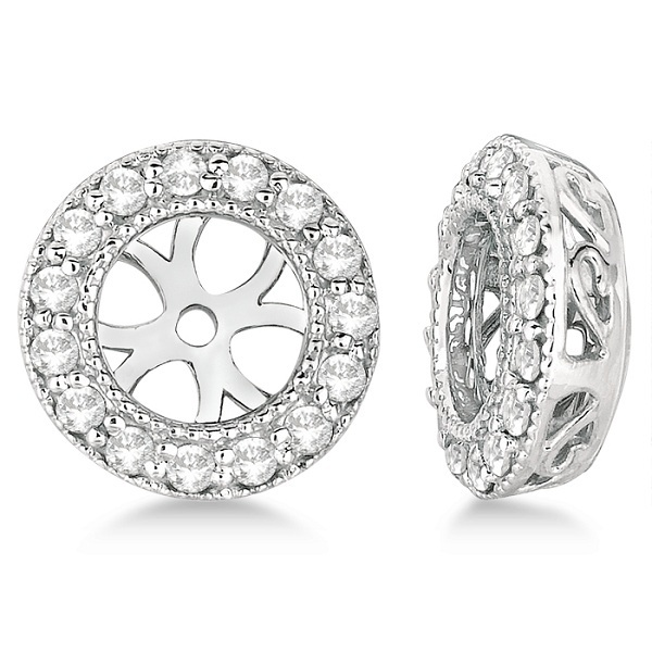 Vintage Round Cut Diamond Earring Jackets 14k White Gold 0 27ct