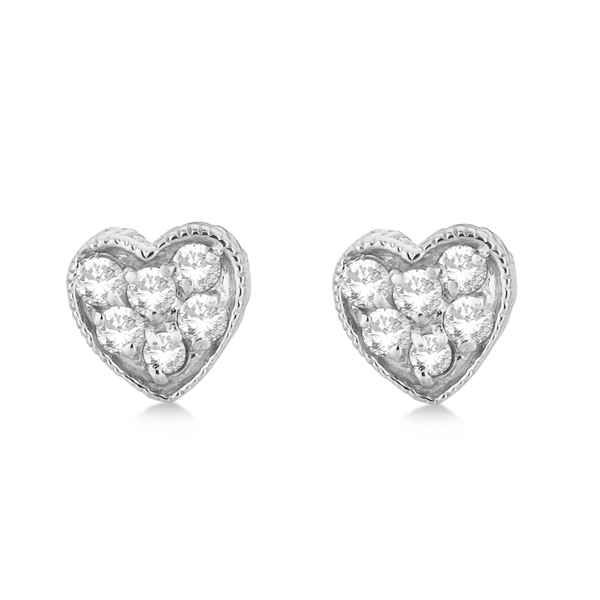 Diamond Cluster Heart Shaped Earrings 14K White Gold (0.30ct)
