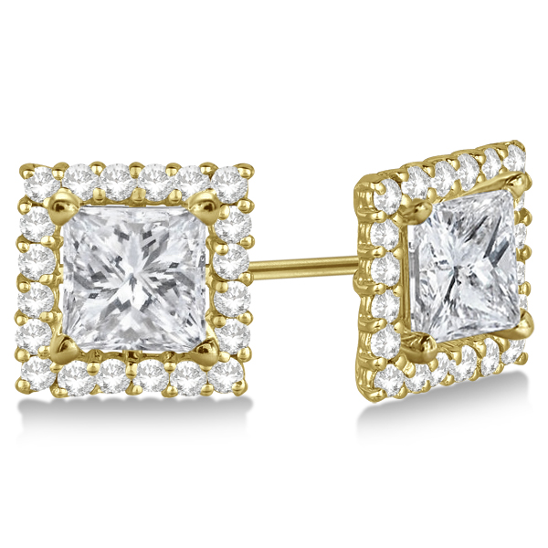 Square Diamond Earring Jackets Pave Set 14k Yellow Gold 1 01ct