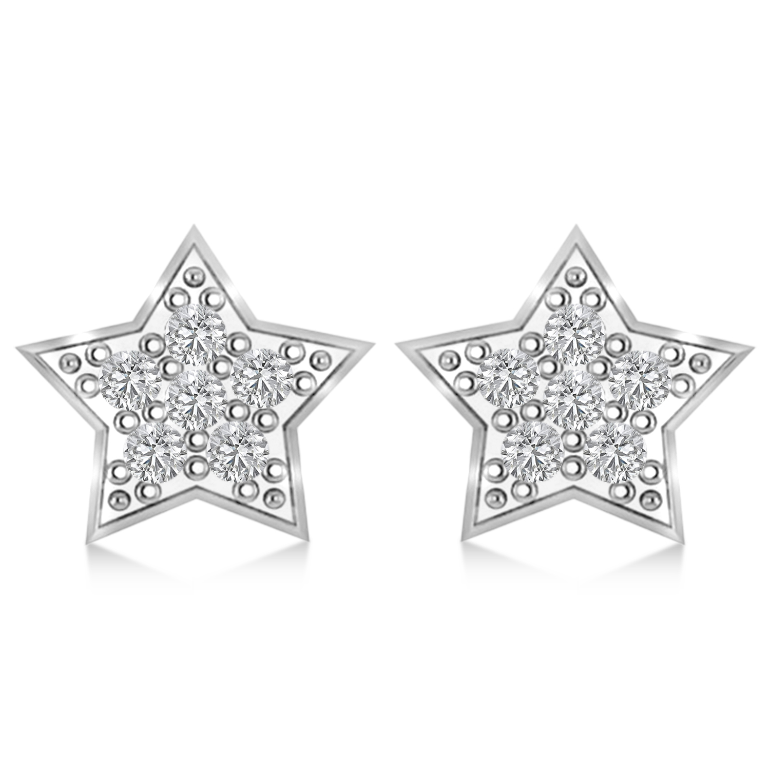 Moon & Star Diamond Mismatched Earrings 14k White Gold (0.14ct)