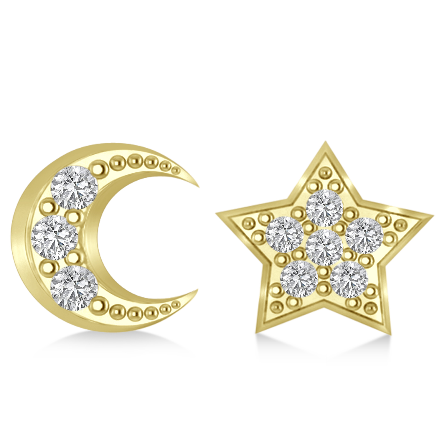 Moon & Star Diamond Mismatched Earrings 14k Yellow Gold (0.14ct)