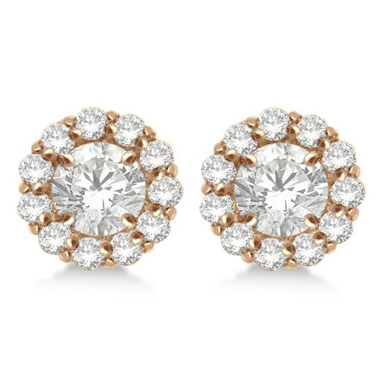 Round Diamond Earring Jackets for 8mm Studs 14K Rose Gold (1.00ct)