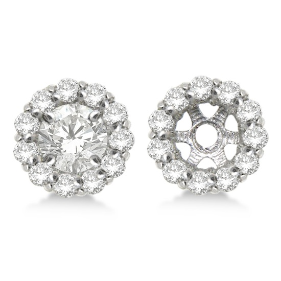 Round Diamond Earring Jackets For 4mm Studs 14k White Gold 0 64ct
