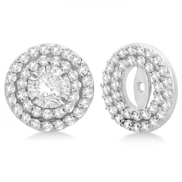 Double Halo Diamond Earring Jackets For 9mm Studs 14k White Gold 0 85ct