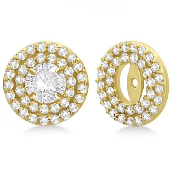 Double Halo Diamond Earring Jackets For 4mm Studs 14k Yellow Gold 0 52ct
