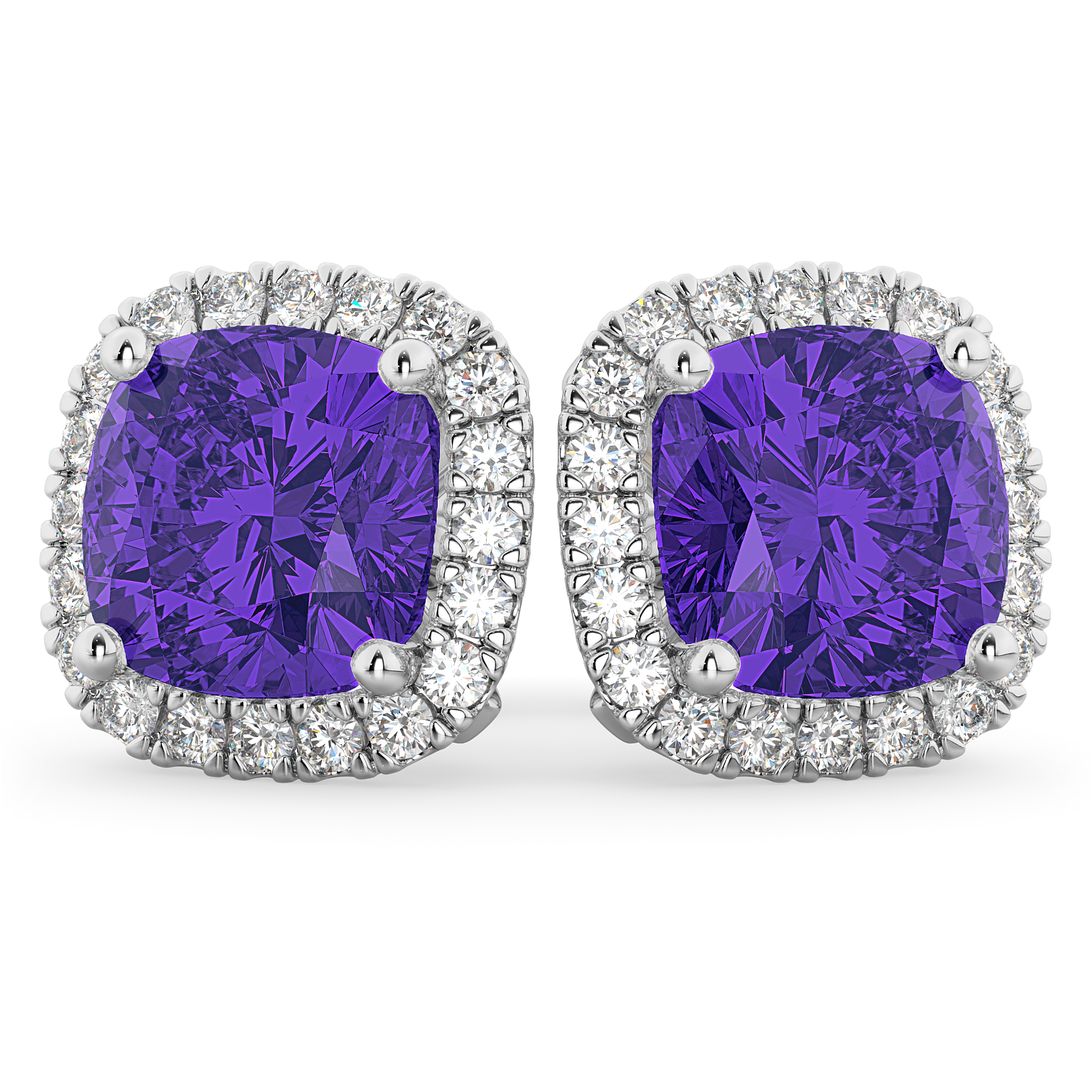 e5e369b8851aca Halo Cushion Tanzanite & Diamond Earrings 14k White Gold 4.04ct - AD4797