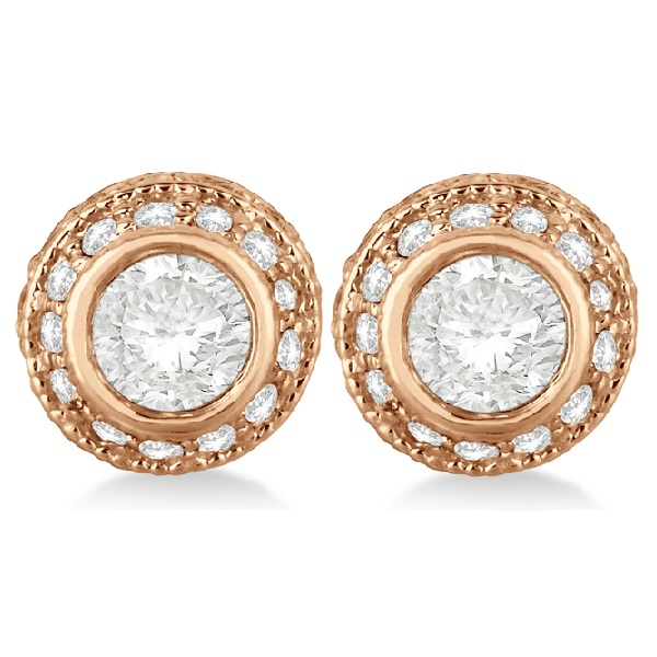 Vintage Double Halo Diamond Earrings 24k Rose Gold (2.00cts)