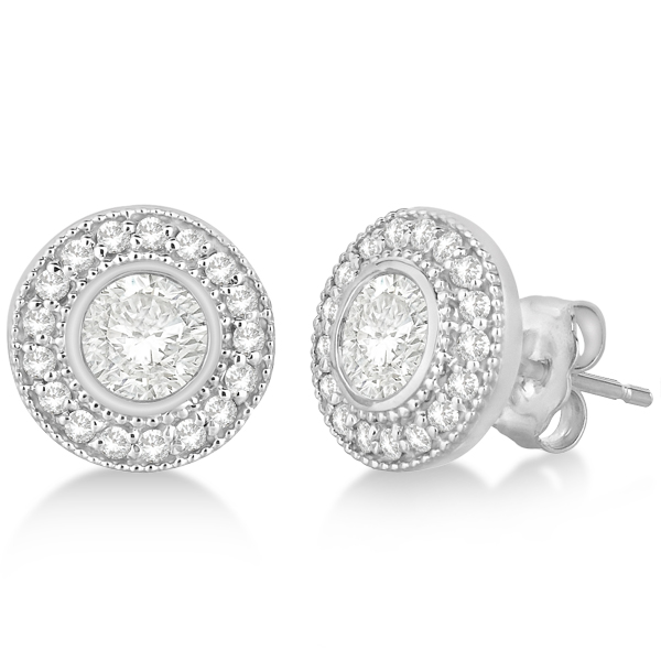 Vintage Style Diamond Halo Earrings Bezel Studs 14k White Gold 1 31ct