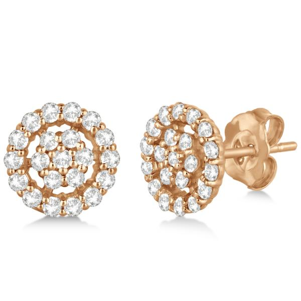 Diamond Cluster Earrings with Halo, Pave Set 14k Rose Gold 0.61ct