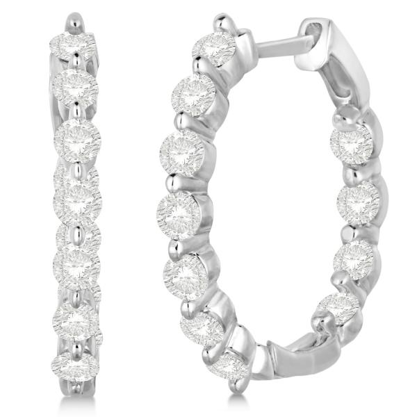 Inside Out Diamond Hoop Earrings G Set In 14k White Gold 1 34ct