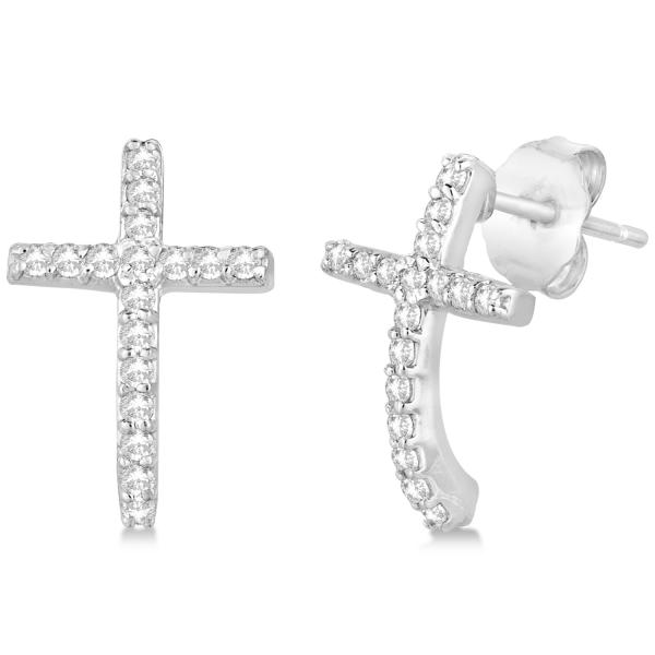 Allurez Pave Set Diamond Cross Post Earrings 14k White Go...
