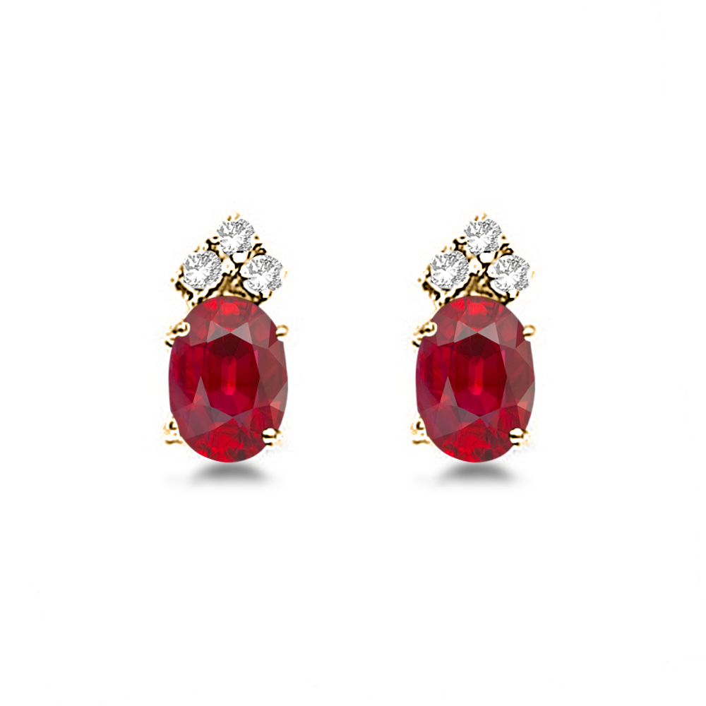 Oval Ruby and Diamond Stud Earrings 14k Yellow Gold (1.24ct)
