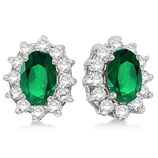 Allurez Oval Emerald and Diamond Accented Earrings 14k Wh...