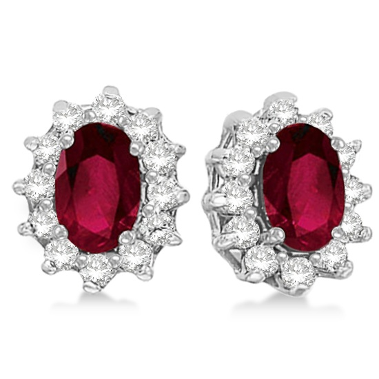 Allurez Oval Ruby and Diamond Accented Earrings 14k White...