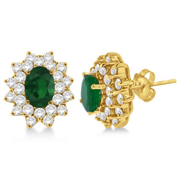 Diamond & Oval Cut Emerald Earrings 14k Yellow Gold (3.00ctw)