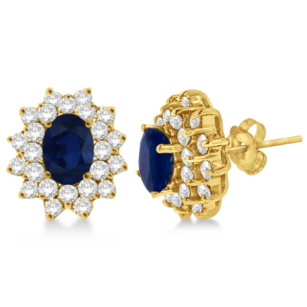 Diamond & Oval Cut Blue Sapphire Earrings 14k Yellow Gold (3.00ctw)