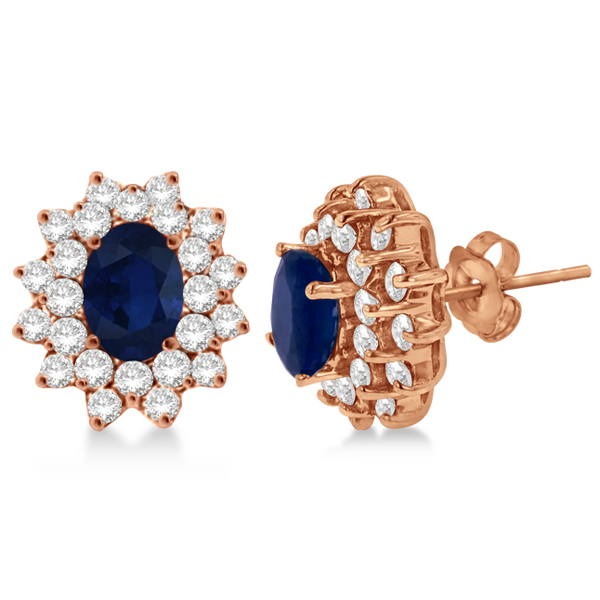 Diamond and Oval Cut Blue Sapphire Earrings 14k Rose Gold (3.00ctw)