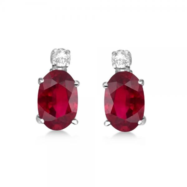 Oval Ruby Stud Earrings With Diamonds 14k White Gold 0 43ct