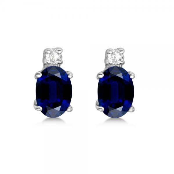 Oval Blue Sapphire Stud Earrings with Diamonds 14k White Gold 0.43ct