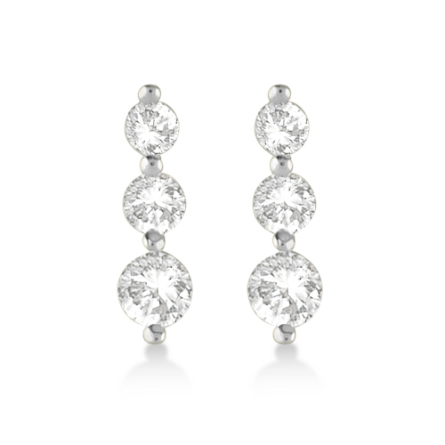 Allurez Graduated Three-Stone Diamond Earrings 14k White ...