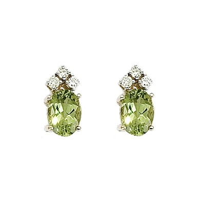 Allurez Oval Peridot and Diamond Stud Earrings 14k Yellow Gold (1.24ct) at Sears.com