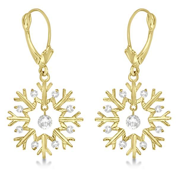 Allurez Snowflake Shaped Dangle Drop Diamond Earrings 14K...