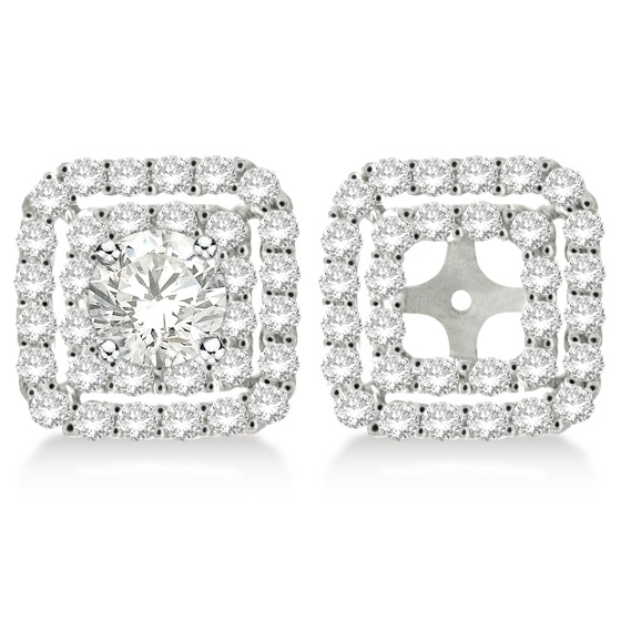 Pave Set Square Diamond Earring Jackets In 14k White Gold 1 05ct